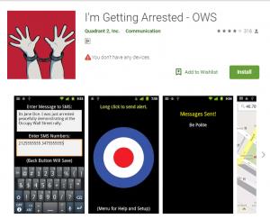"""""""تطبيق لقد تم اعتقالي"""" يحدد الموقع والوقت"""