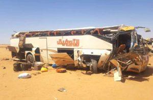 مصرع (12) شخصاً وإصابة (37) آخرين جراء إنقلاب بص سياحي قرب مروي