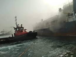 """احتراق باخرة """" برسيم """" فى ميناء بورتسودان"""